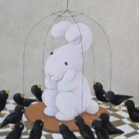 """黃本蕊,我被宣判無聊終身,鳥兒們卻對我說:""""請把籠子還給我們吧?""""2009,壓克力顏料/畫布,51 x 40.5 cm"""