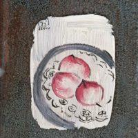 常玉,《三個桃子》,ca. 1929,油彩、鏡面,13 x 9 cm