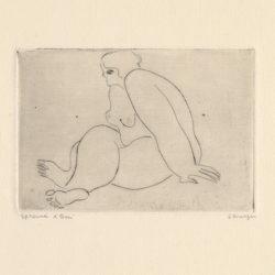 常玉,翹腿裸女,ca. 1929,直刻、鋅版、版畫紙,7.8 x 11.4 cm
