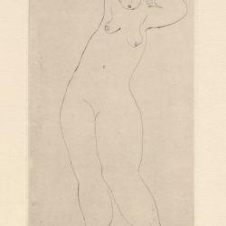 常玉,立姿舉臂裸女,ca. 1929,直刻、鋅版、版畫紙,16.6 x 9.8 cm