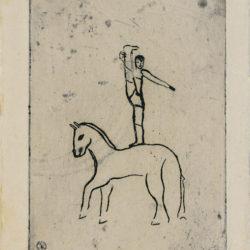 常玉,馬上英雄,ca. 1929,直刻、鋅版、紙本,8.5 x 6 cm