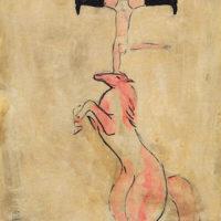 常玉,馬術特技,1930s,油彩、水墨、紙本、裱於木板,32 x 24 cm