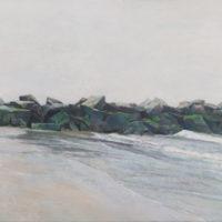 陸亮,綠堤,2016-2018,油彩/畫布,40 x 180 cm