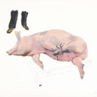 劉小東,捆,2009,石版畫/紙,57 x 76 cm