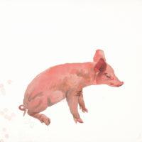 劉小東,蹲,2009,石版畫/紙,57 x 76 cm