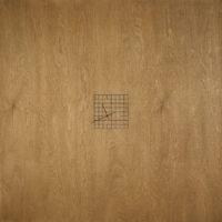 王雅慧,流浪者之鐘#3,2019,油墨/染色木板/時鐘機芯/黑色壓克力,80 x 80 x 3 cm(高x寬x深)