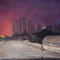 陸亮,夜路-霧霾,2013-2016,油彩/畫布,218 x 388 cm
