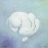 黃本蕊,雲端寶貝,2015,壓克力顏料/畫布,76 × 76 cm