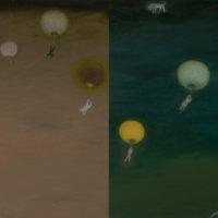 蘇旺伸,《燈會》,2018,油彩/畫布 Oil on Canvas,45 x 66 cm (2件一組)