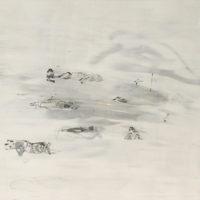 鄒享想,《最佳觀賞距離-1》,2012,碳粉、壓克力顏料/畫布,65 x 80 cm