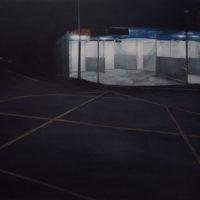 鄒享想,《洗車場》,2014,壓克力顏料/畫布,100 x 180 cm