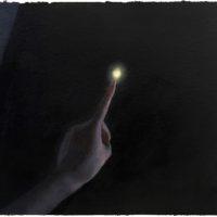 張安,月亮,2016,壓克力顏料/紙,15 x 16 cm