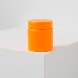 LAI Chih-Sheng, Paint Can _Flourescent Orange-Yellow, 2016, acrylic / paper on plastic, 6 × 6 × 7 cm