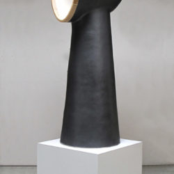 Shida KUO, Untitled No. 11-01, 2011, Fired clay, metallic glaze and wood, 114.3 × 38.1 × 40.6 cm