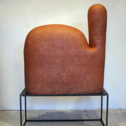 Shida KUO, Untitled No. 15-02, 2015, Fired terracotta and white clay on a metal stand, 127 × 30.4 × 86.3 cm