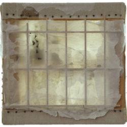LIN Yan, Both Sides of the Story, 2014, Xuan paper, wax, nails and lights on linen, 41 × 41 × 3 cm