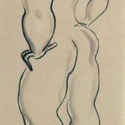 Sanyu, Standing Nude, 1920/30s, Ink on paper, 38.5 x 18.5 cm