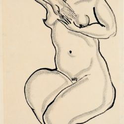 Sanyu, Seated Nude, 1920/30s, Ink on paper, 44.8 x 27 cm
