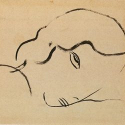 Sanyu, Face, 1930, Ink on paper, 21.5 x 27.5 cm