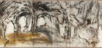 CAI Guo-Qiang, Taroko Gorge, 2009, Gunpowder on paper, mounted on 2 nine-panel folding screens, 250 x 1800 cm /each