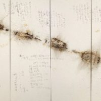 CAI Guo-Qiang, Bigfoot's Footprints: Project for Extraterrestrials No. 6, 1991, Gunpowder and ink on paper, mounted on wood as eight-panel folding screen, 200 x 680 cm overall