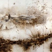 CAI Guo-Qiang, Pine Tree and Eagle, 2007, Gunpowder on paper, mounted on wood as eight-panel screen, 230 x 620 cm