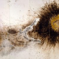 CAI Guo-Qiang, Crocodile and Sun, 2007, Gunpowder on paper, mounted on wood as six-panel screen, 233 x 463.8 cm