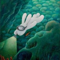 Benrei HUANG, Finding out the very source of music, 2010, Acrylic on canvas, 61 x 50.8 cm