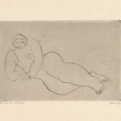 Sanyu, Reclining Nude, ca. 1929, Drypoint on Rives BFK paper, 9.3 x 14.3 cm
