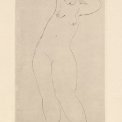 Sanyu, Standing Nude with Raised Arms, ca. 1929, Drypoint on Rives BFK paper, 16.6 x 9.8 cm