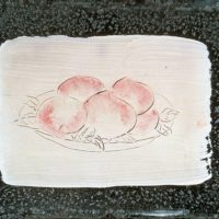 Sanyu, Five Peaches, ca. 1929, Oil on mirror, 9 x 13 cm