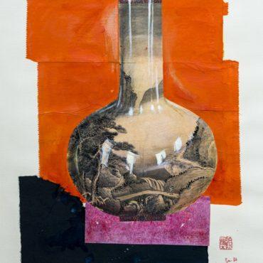 Fu-sheng KU Chinese Style Vases:  Vase With Landscape 1984 Mixed Media on Paper 61 x 46 cm