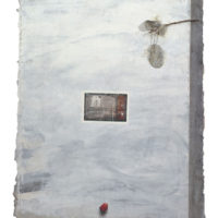 SZETO Keung, Red, 1993, Acrylic, post card and dried leaves on paper&linen, 76 x 64 cm