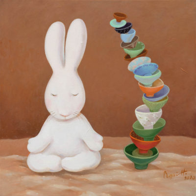 Benrei HUANG, Nine days of therapeutic tea ceremony-- day 5, 2020, Acrylic on canvas, 51 x 51 cm
