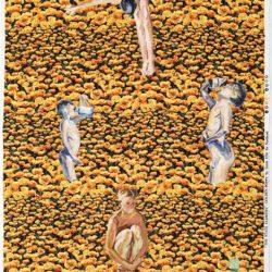 Fu-sheng KU, Childrens Hour, 2010, Mixed media on printed calico, 98 x 64 cm