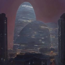 LU Liang, Wang Jing Soho in the Haze, 2016, Oil on canvas, 55 x 48 cm
